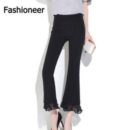 Wholesale Dance Pants For Women - Fashioneer Wind Leg Pants For Women Lace Chiffon Slim High Waist Capris Office Casual High Waist Dance Trousers Pencil Pants