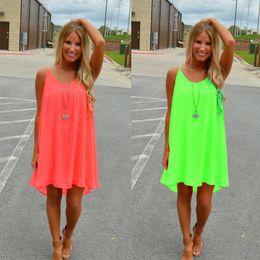 Wholesale Women Clothes Wholesalers - Women Girl Beach Fluorescence Summer Dress Hollow Back Chiffon Women Dress Plus Size Neon Colors Clothing