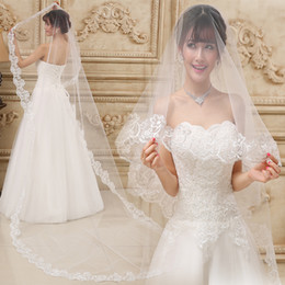 Wholesale voile sale - Cheap 3M Cathedral Bridal Veil Beautiful Hot Sale Ivory White Wedding Veils 3M Long With Lace Edge 2017 In Stock Voile mariage