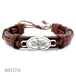 Wholesale Women Kissing Leather - (10PCS lot) KISS THE GIRL CHARM Adjustable Leather Cuff MERMAID Bracelet Friendship Bangle Punk Casual Jewelry for Women