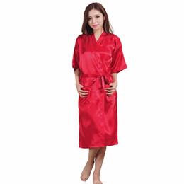 Wholesale Silk Plus Size Kimono Robe - Wholesale- Brand Long Robe Emulation Silk Soft Home Bathrobe Plus Size S-XXXL Nightgown For Women Kimono Robes Autunm Spring Winter Summer