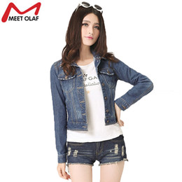 Wholesale Cheap Buttons For Clothing - Wholesale- Short Denim Jacket For Women Oversize Ladies Basic Jean Jackets Spring Cheap Female Clothing Coats YL562
