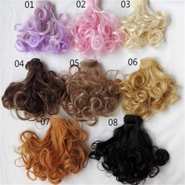 Wholesale Dolls Colorful Hair - 2017 Fashion 15cm*100cm Dolls Wigs Dolls Accessories for 8 Color Choice Curls Colorful Wavy Hair Doll Decors Childrebn Education