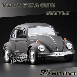 Wholesale Model Pull - 1:36 Scale Diecast Alloy Metal Classic Car Model For TheVolks wagen Beetle 1967 Version Collection Model Pull Back Toys Car-Matte Black