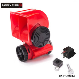 Wholesale 12v Electric Air Horn - TANSKY- Car Motorcycle Truck 12V Red Compact Dual Tone Electric Pump Air Loud Horn Vehicle Siren TK-HOM043