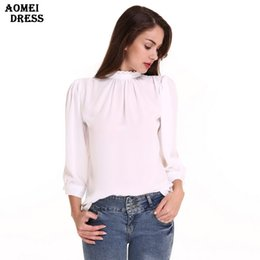Wholesale Office Girl White Shirt - Women New Ruffles Elegnat Chiffon Blouse White Color Girls Office Lady Body Shirts Womens Clothing Blusas Tops Plus size Clothes