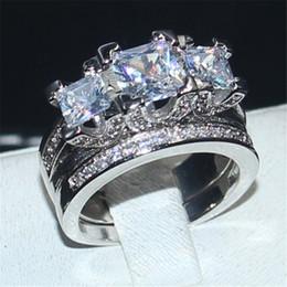Wholesale Statement Diamond Ring - Luxury Jewelry Lady's 925 Sterling Silver Three-stone Square Simulated Diamond CZ Paved Stone 2 Statement Wedding Band Ring Set for Women
