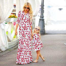 Mother Daughter Cherry Dresses Mom Girls Floral Print Dress 2017 Kids Girl  Dress Women Beach Party Long Dress Family Match Clothes B430 fb6607545fa0