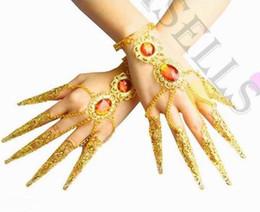 Wholesale Costume Leather Bracelet Jewelry - 1pcs belly dance bracelet costume jewelry Indian dance bangle Avalokitesvara nail sets false nail cover hand ring props