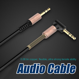 Wholesale Flat Audio Speakers - 3.5mm Auxiliary Audio Cable Cord Flat 90 Degree Right AUX Cable with Steel Spring Relief for Headphones Smartphones Home Car Stereos