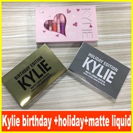 Wholesale Liquid Wholesalers - Kylie Jenner brithday lip gloss & KYLIE holiday lip golss &Matte and velvet Liquid Lipstick Valentines DHL free shipping