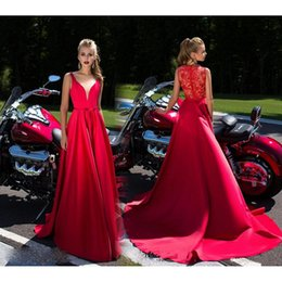 Wholesale Summer Gowns For Women - Red V-Neck China Prom Dresses 2017 Long Satin Evening Gowns For Women A-Line Floor Length Special Occasion Party Dress