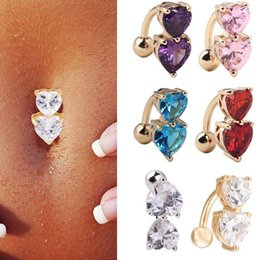 Wholesale Navel Rings Body Piercing - 6 Colors Reverse Crystal Bar Belly Ring Gold Body Piercing Button Navel Two Heart body pierce jewelry