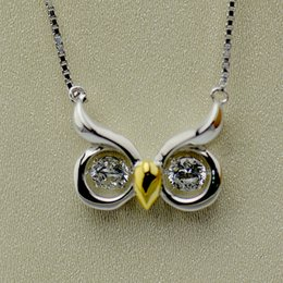 Wholesale Yellow Stone Diamond Necklace - 925 Sterling Silver Jewelry Owl Necklace With Twinkle Diamond Dancing Stone 1pc A Lot Free Shipping IBN170014