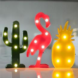 Decorações românticas para mesa de aniversário on-line-3D LED Flamingo, Cactus, Abacaxi Nightlight Romântico Night Light Table Lamp LED Decoração de Festa de Aniversário do bebê iluminação noturna