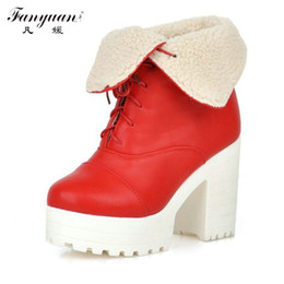Wholesale Plus Size Dresses Boots - Wholesale-Retro Round Toe Woman Sexy Square High Heel Ankle Boots Sexy Casual Warm Fur Lace Up Winter Dress Shoes Plus Size 34-42