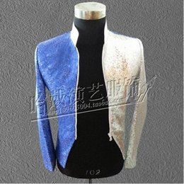 Wholesale Men S Latin - S-5XL!!The new blue silver costumes Zipper cultivate one's morality sequins evening male singer DS performance stage