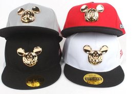 Wholesale Snapback Hats Child - 4 color Hot Mickey ear hats children snapback Caps baseball Cap with ears Funny Hats spring summer hip hop boy hats caps 10pcs