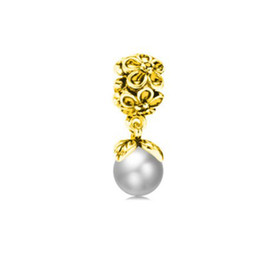 Wholesale Big Hole Pearls - Fit Pandora Charm Bracelet European Charms 18k Gold Plated Pearl Dangle Big Hole 925 Beads DIY Snake Chain For Women Bangle Necklace Jewelry