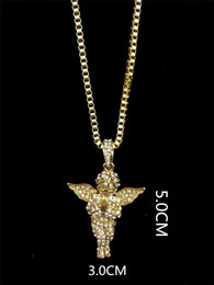 Wholesale Mens Gold Chain 24 Inch - Mens Vintage Angel Wing Pendant Chain 14K Gold Plated Iced Out Pendant Necklace 24 Inch Long Rope Chian Box Chain