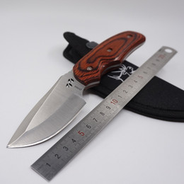 Wholesale Bowie Knives Fixed Blades - BUCK 076 Small Straight Knife Tactical Survival Hunting Knives Fixed Blade Bowie Knife With Nylon Sheath 440C Blade Wood Handle Camping Tool