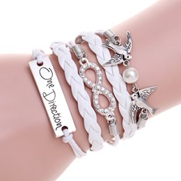 Wholesale One Direction Leather Bracelets - DIY Infinity One Direction Letter Lucky no.8 Lady gift charm bracelet with diamond big peral birds leather bracelets