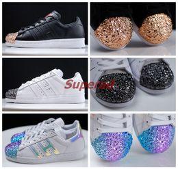 Wholesale Mans Shoes Metal - New Superstar Metal Toe Black White Hologram Iridescent Women Men Running Shoes Sneaker Originals Super Star Tennis Sport Run Shoe With Box