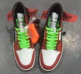 Wholesale Retro Floor - Wholesale New Air Retro 1 OFF WHITE OG 10X Chicago Men Causal Shoes White Black Varsity Red Sports Box AA3834-101 Sneaker US7-13