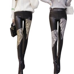 Wholesale Leather Back Leggings - Wholesale- 2016 New PU High Waisted Jeans Sequin Embroidery Women Fleece Wear Fashion Female Backing Pencil Faux leather leggings