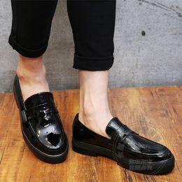 Wholesale Discount Coats For Men - Hidden Heel Men Shoes Leather Shoes For Men Discount Men Platform Shoes Coat Of Paint Cowhide Temperament Solid Color Dimensiona