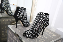 Wholesale T Strap Gold Glitter Heels - LTTL Gold sliver black Suede & Glitter Cut Out Women Gladiator Sandals Open Toe Lace Up High Heels Ladies Fashion Dress Outfit Shoes