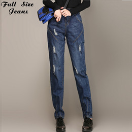 Wholesale Large Bamboo Paintings - Wholesale- Fall Boyfriend Plus Size Loose Ripped Harem Jeans For Women Extra Large Distressed Jeans Femme Rock Denim Pants Xxxl 6Xl 54 56