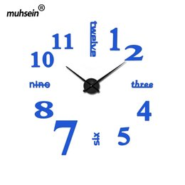 Wholesale Diy Modern Wall Clocks - Wholesale-2016 new arrival quartz diy modern clocks needle acrylic watches big wall clock mirror sticker living room decor free shipping