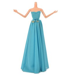 Wholesale Barbies Dolls Dresses - High Quality Blue Party Doll Dress Flowers Clothes Gown For Barbie evening wedding dress party dress 1pcs