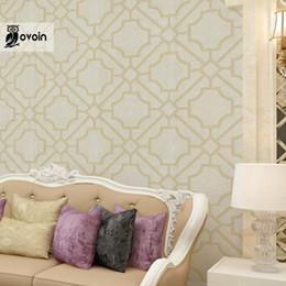 Wholesale Grey Paper Roll - Wholesale- Modern Designer Metallic Lattice Geometric Wallpaper Roll Moroccan Trellis Stencil Wall Paper Wallcovering, Gold, Grey