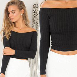Wholesale Womens Crop Tops Wholesale - Wholesale-Sexy Womens Off Shoulder Tops Long Sleeve Sweater Crop Tops T-shirt