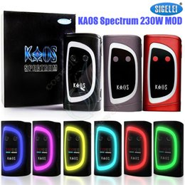 Wholesale Oled Display Color - Authentic Sigelei Kaos Spectrum 230W Box Mod New Color Fit 2pcs 18650 Battery 0.96TFT Big OLed Display 6 Changeable e cigs Vapor Mods DHL