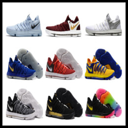 Wholesale Cotton Childrens - KD 10 kids sneakers Fmvp Kevin Durant Childrens basketball shoes Top Quality (With Box) free shipping size 36-40
