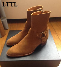 Wholesale Suede Ankle Boots Low Heel - New Arrival Tan Suede Classic Wyatt Ankle Boots Justin Bieber Style Motorcylcle Boots Fashion Casual Low Heels Men Shoes Fall Winter