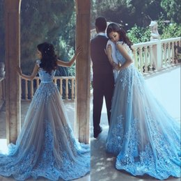 Wholesale Sweetheart Princess Prom Dresses - Ice Blue Princess Prom Dresses With Long Train Appliques Sash Tulle Special Occasion Dresses Evening Wear Said Mhamad Bridal Gowns Vestidos