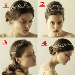 Wholesale Gold Tiaras Hair Accessories - Fashion Rhinestone Flower Headpiece Wedding Hair Accessories Special Occasion Headbands Bridal Headband Tiara Headwear Bridal Crowns CPA908