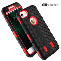 Wholesale Iphone Camo Case Clip - New Camo Style Heavy Duty Hybrid Defender Rugged Armor Tire Robot 2 in1 Dual Color Hard Shockproof Case Cover for iPhone 8 7 Plus 6 6S