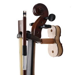 Wholesale Wood Ash - Wood Violin Hanger with Bow Peg - Hardwood Home & Studio Wall Mount Hanger - Ash Wood