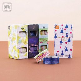 Wholesale Free Scrapbooking Papers - Wholesale- 2016 Decorative DIY Washi Tape Pack of 4 Floral Pattern Sticky Paper Masking Adhesive Tape Scrapbooking Phone DIY Free Shipping