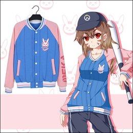 Wholesale Bunny Jacket Woman - Woman Bunny Jacket D.va Cute Hoodie Cosplay Sweatshirt Game Cartoon Baseball Coats Autumn Winter Anime Long Sleeve Pink Costume
