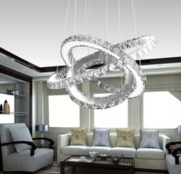 Wholesale Mounting For Diamond Pendant - Modern LED Crystal Chandelier led Ring Diamond K9 Pendant lamps lighting For Beach House Bedroom Dining Room AC110-240V LED SMD Crystal Ce