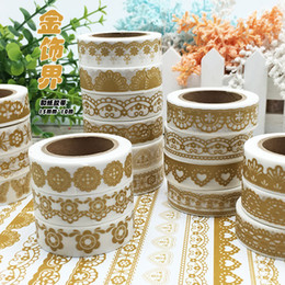 Wholesale Paper Sticker Album - Wholesale- 2016 Golden Color Flower Lace Frame Washi Paper DIY Decorative Masking Tapes Gift Wrapping Stickers Album Deco