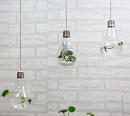 Wholesale Wholesale Bulb Planters - New Clear hanging bulb vases Succulent air plant bulb terrarium light bulb shape glass planter for Christmas Ornaments wedding home decor