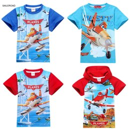 Wholesale Girls Plane T Shirt - 2 To 9Y Cartoon Plane Children Kids Boys Tops Tees T Shirts Costume Summer Cotton Baby Boys Girls T-shirts Clothing SAILEROAD