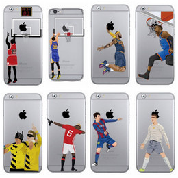 Wholesale Iphone 4s Cases Football - Cartoon Basketball Football Stars Print TPU Gel Soft Case Cover for iPhone 4 4s 5 5s 5c 6 6s Plus 7 7 Plus